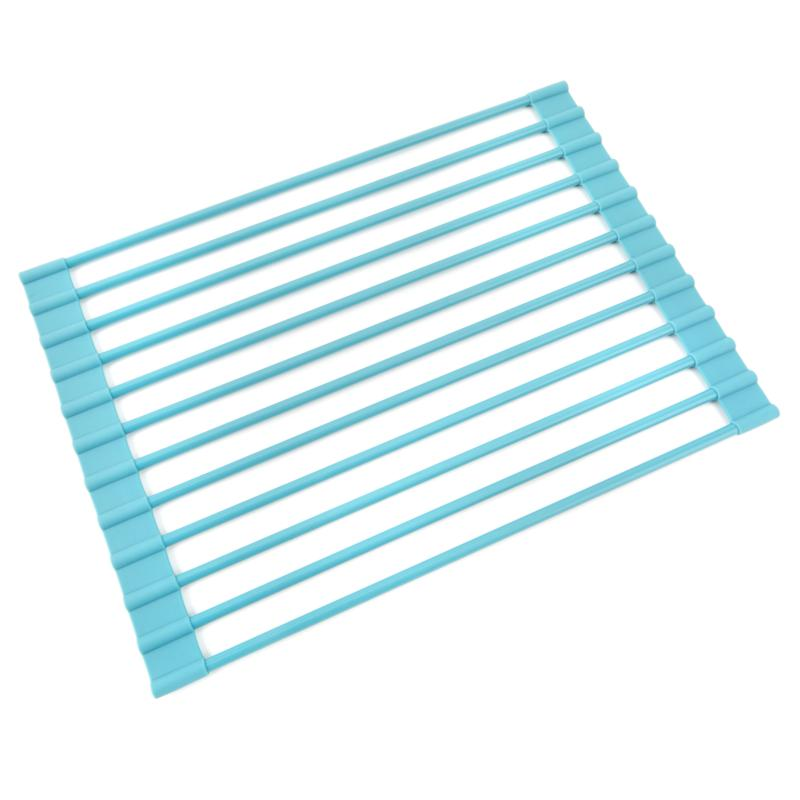 Curtis Stone Roll Up Drying Rack and Trivet-Turquoise-Daily Steals