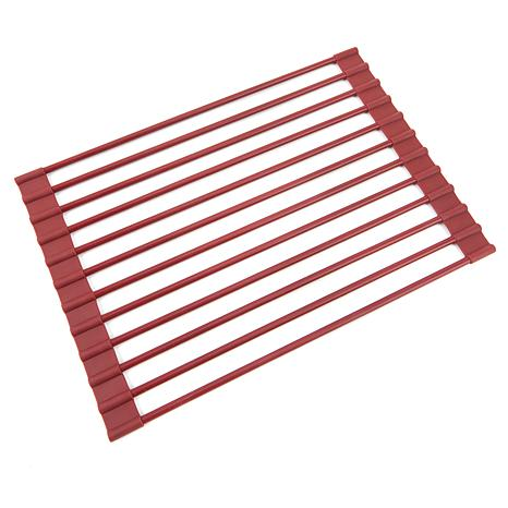 Curtis Stone Roll Up Drying Rack and Trivet-Red-Daily Steals