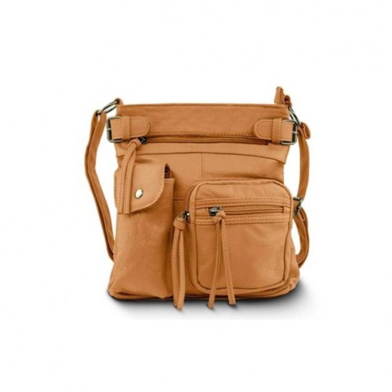 Super Soft Genuine Leather Top Belt Accent Crossbody Bag - 5 Colors-Light Brown-Daily Steals