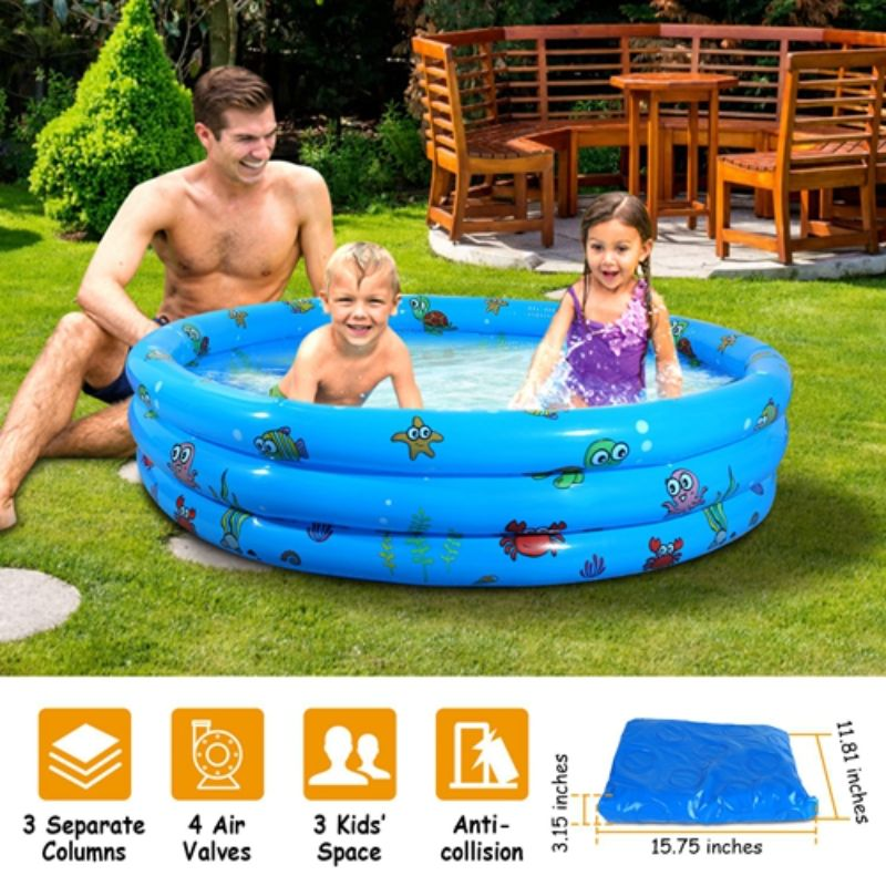 "Inflatable Kids Swimming Pool with Plug, 51"" x 13''"