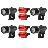 Universal Front Rear Bike Water Resistant Light Set - 4 Pack