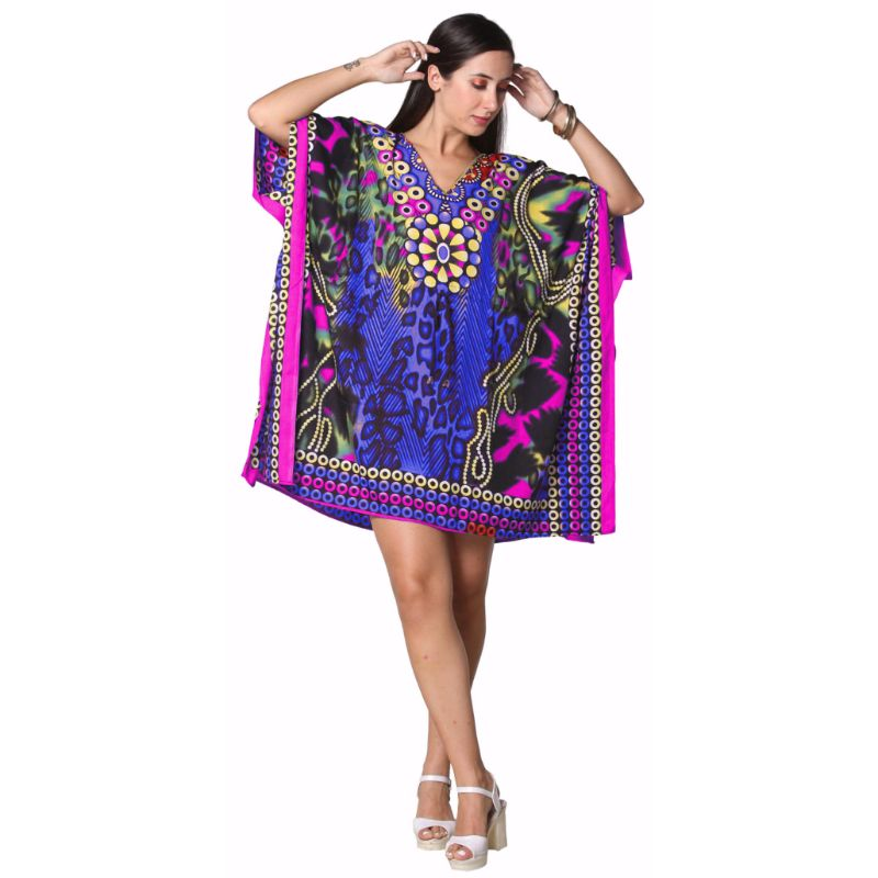 Kaftan Womens Boho Beach Dress Cover African - One Size, 4-24-BLUE/PINK-Daily Steals