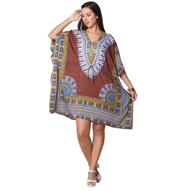 Kaftan Womens Boho Beach Dress Cover African - One Size, 4-24-BROWN-Daily Steals