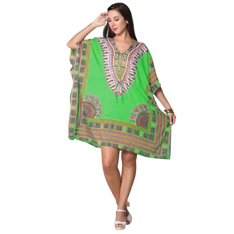 Kaftan Womens Boho Beach Dress Cover African - One Size, 4-24-GREEN-2-Daily Steals