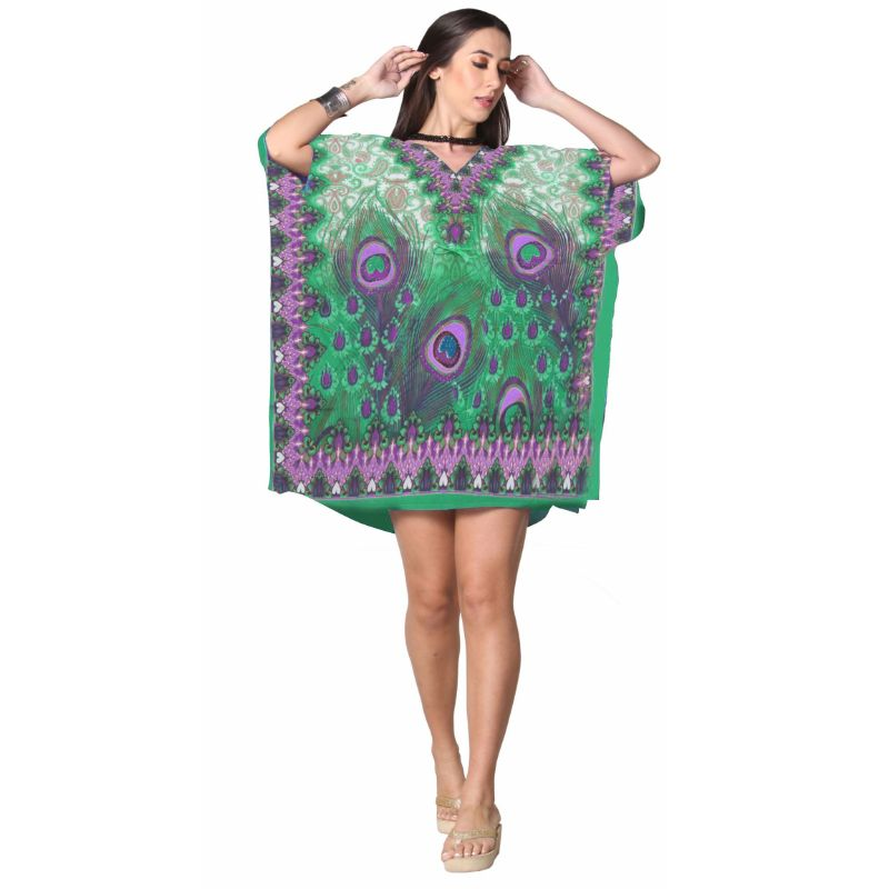 Kaftan Womens Boho Beach Dress Cover African - One Size, 4-24-GREEN-Daily Steals