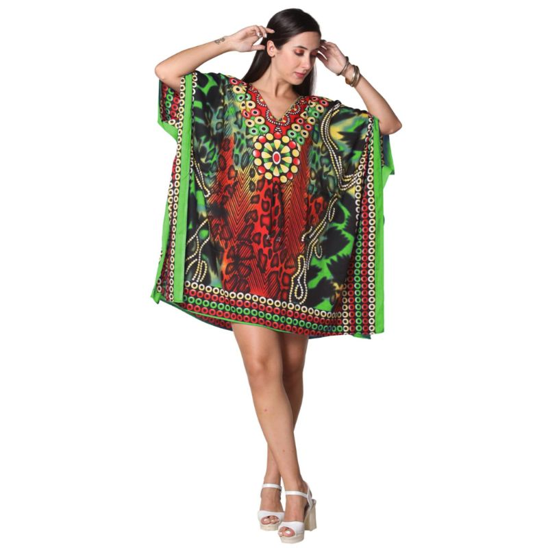 Kaftan Womens Boho Beach Dress Cover African - One Size, 4-24-GREEN/RED-Daily Steals