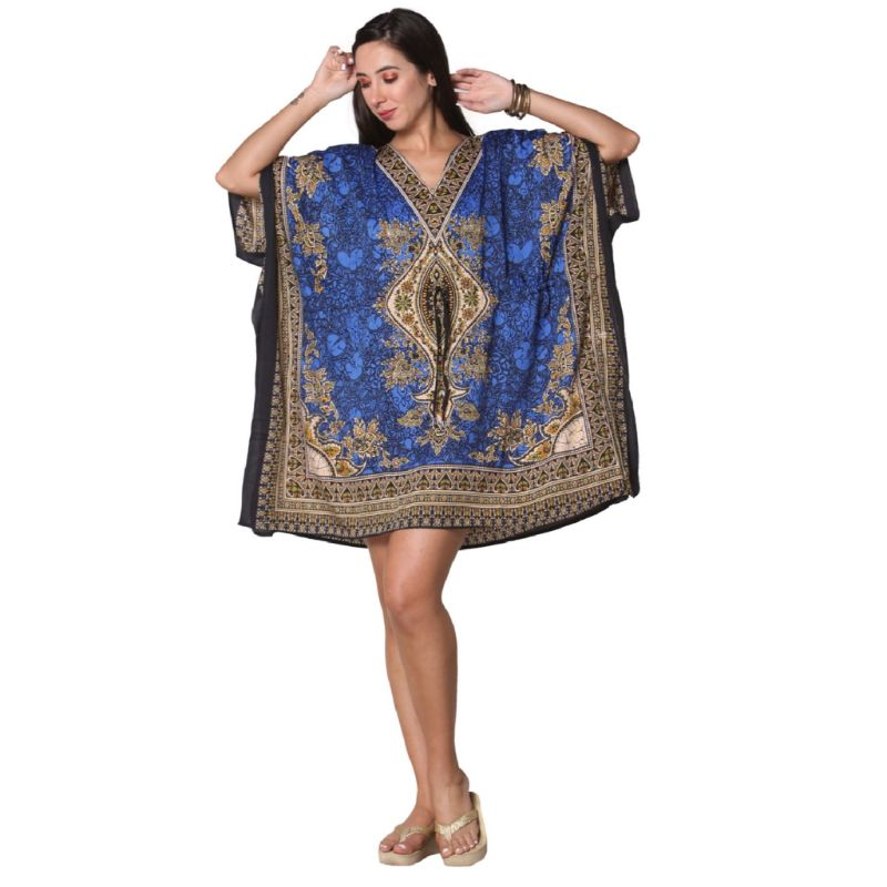 Kaftan Womens Boho Beach Dress Cover African - One Size, 4-24-NAVY-Daily Steals