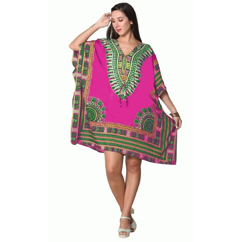Kaftan Womens Boho Beach Dress Cover African - One Size, 4-24-PINK-Daily Steals