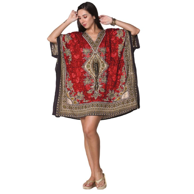 Kaftan Womens Boho Beach Dress Cover African - One Size, 4-24-RED-1-Daily Steals