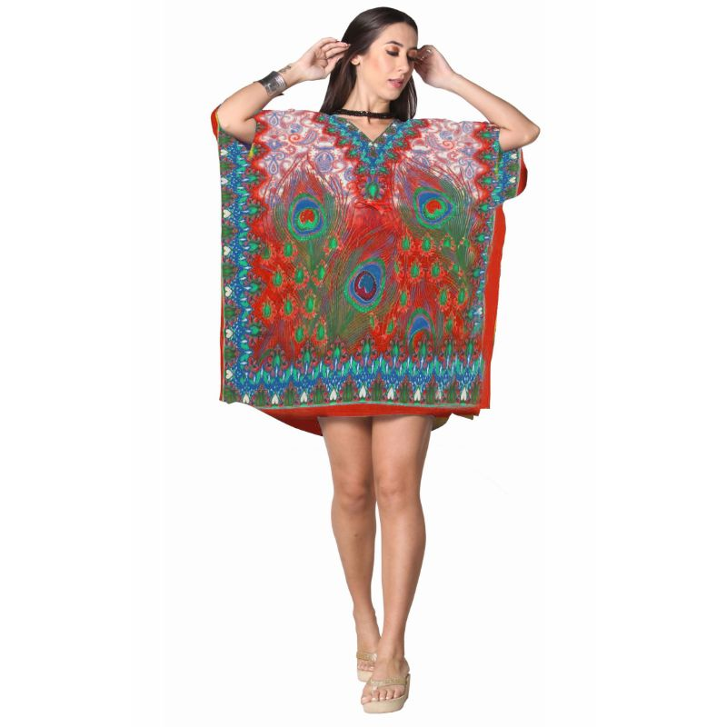 Kaftan Womens Boho Beach Dress Cover African - One Size, 4-24-RED-Daily Steals