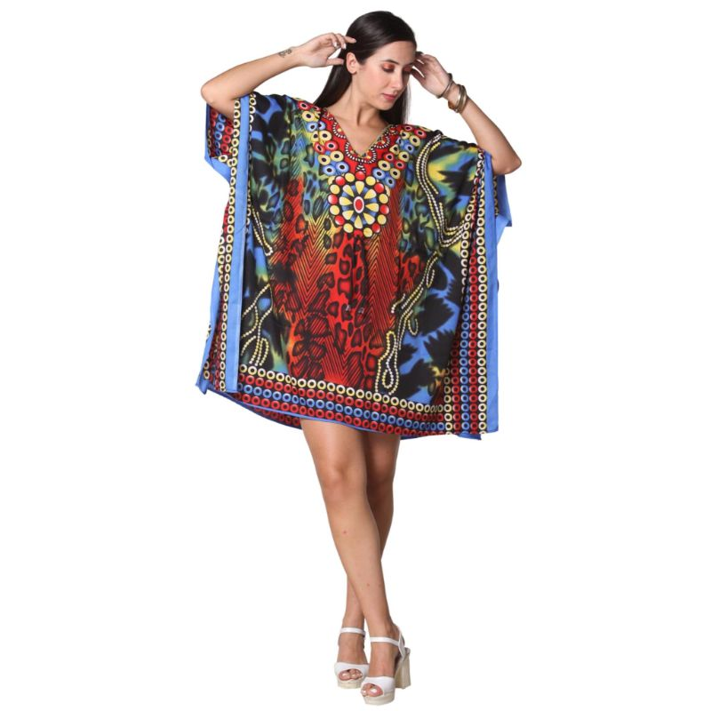 Kaftan Womens Boho Beach Dress Cover African - One Size, 4-24-RED/BLUE-Daily Steals