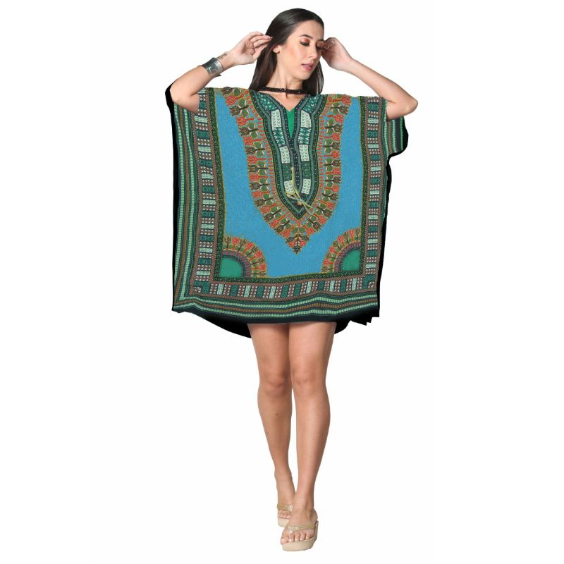 Kaftan Womens Boho Beach Dress Cover African - One Size, 4-24-TEAL-1-Daily Steals