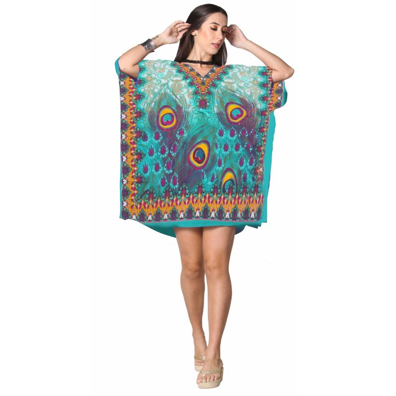 Kaftan Womens Boho Beach Dress Cover African - One Size, 4-24-TEAL-Daily Steals
