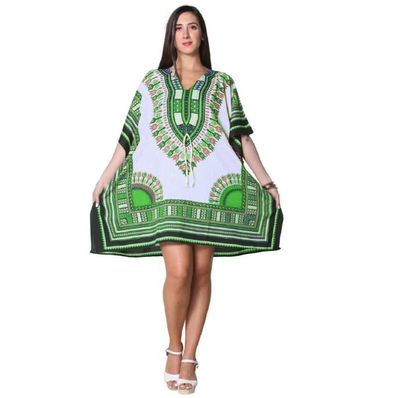 Kaftan Womens Boho Beach Dress Cover African - One Size, 4-24-WHITE-Daily Steals