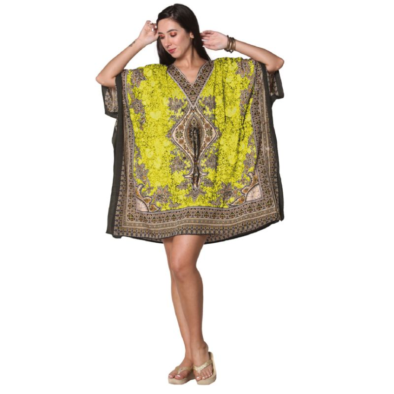 Kaftan Womens Boho Beach Dress Cover African - One Size, 4-24-YELLOW-1-Daily Steals