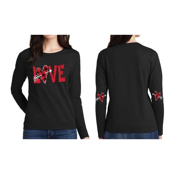 "Women's ""The Sweetest Valentine's Day Ever"" Shirts and Tops-2XL-Long Sleeve - Cupid Love - Black-Daily Steals"
