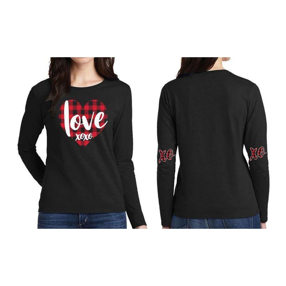 "Women's ""The Sweetest Valentine's Day Ever"" Shirts and Tops-L-Long Sleeve - Love XOXO - Black-Daily Steals"