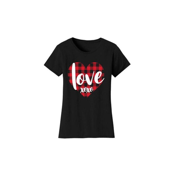 "Women's ""The Sweetest Valentine's Day Ever"" Shirts and Tops-S-T-Shirts - Love XOXO - Black-Daily Steals"