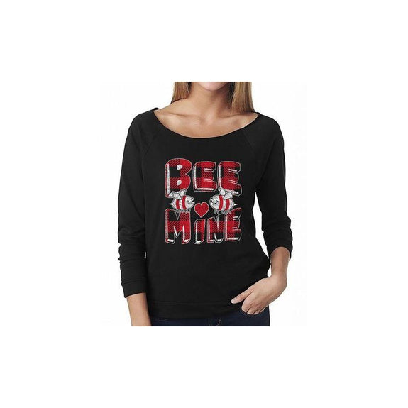 "Women's ""The Sweetest Valentine's Day Ever"" Shirts and Tops-S-Off The Shoulder - Bee Mine - Black-Daily Steals"