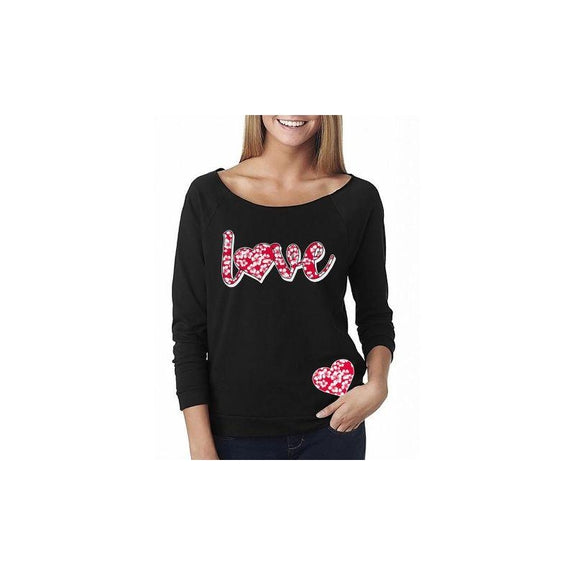 "Women's ""The Sweetest Valentine's Day Ever"" Shirts and Tops-2XL-Off The Shoulder - Hibiscus Love - Black-Daily Steals"
