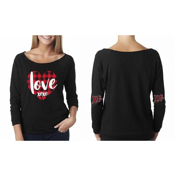 "Women's ""The Sweetest Valentine's Day Ever"" Shirts and Tops-L-Off The Shoulder - Love XOXO - Black-Daily Steals"
