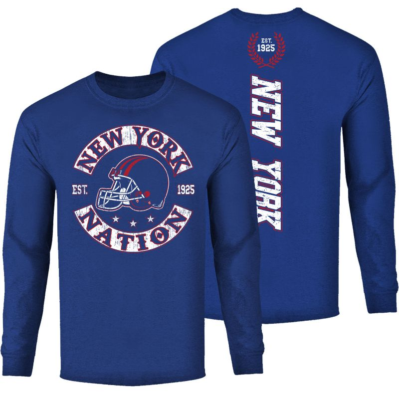 Men's Football Nation Long Sleeve Shirt-New York - Royal Blue-M-Daily Steals