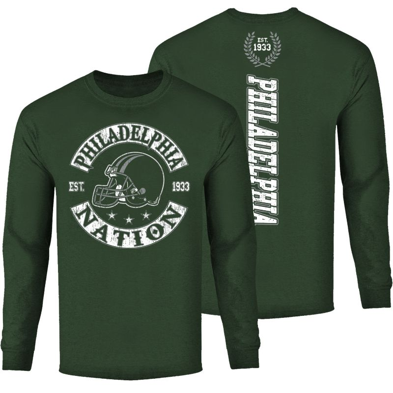 Men's Football Nation Long Sleeve Shirt-Philadelphia - Forest Green-M-Daily Steals