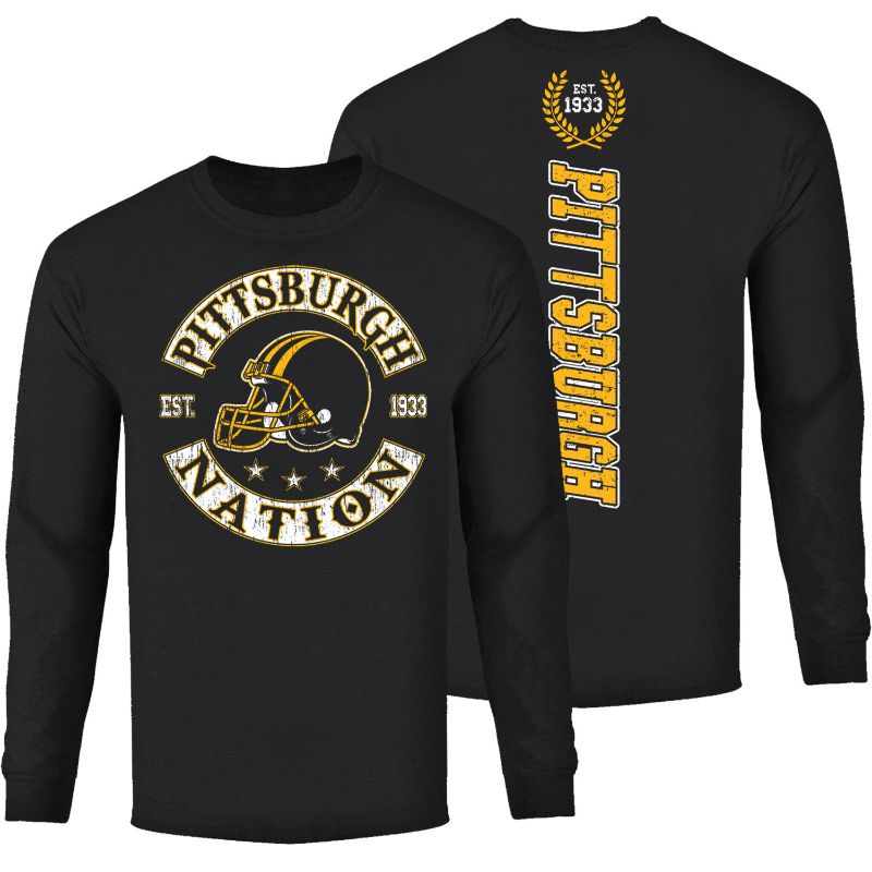 Men's Football Nation Long Sleeve Shirt-Pittsburgh - Black-S-Daily Steals