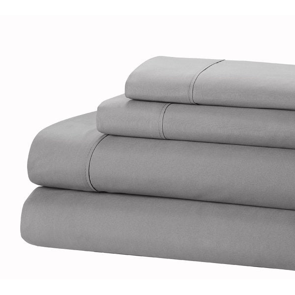 Jamie Lynn 400-Thread Count 100% Cotton 4-Piece Sheet Set-GREY-KING-Daily Steals