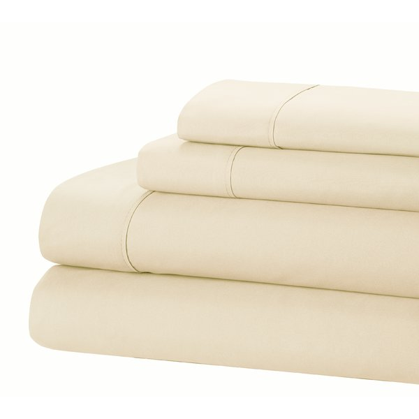 Jamie Lynn 400-Thread Count 100% Cotton 4-Piece Sheet Set-IVORY-KING-Daily Steals