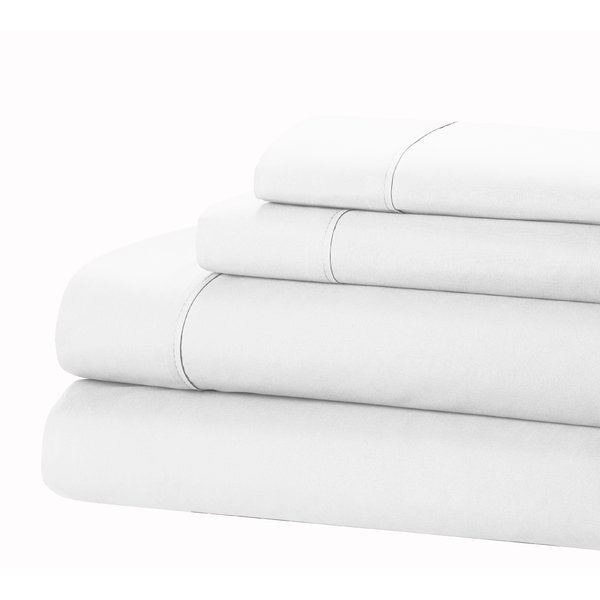Ensemble de draps 4 pièces Jamie Lynn, 100 fils, 100 fils / 400 fils - WHITE-KING-Daily Steals