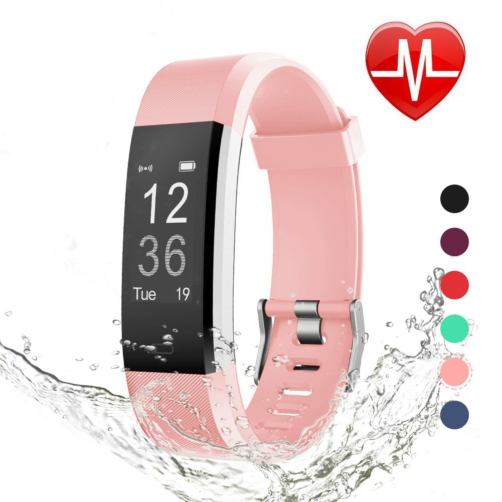 Fitness Tracker with Blood Pressure, Heart Rate Monitor and Color Display-Pink-Daily Steals