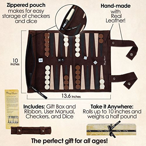 Genuine Leather Travel-Sized Backgammon Game Set-Daily Steals