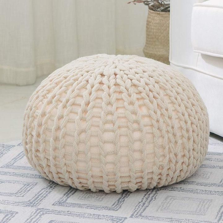 Ultra Plush Chunky Cable Knit Decorative Pouf-Taupe-Daily Steals