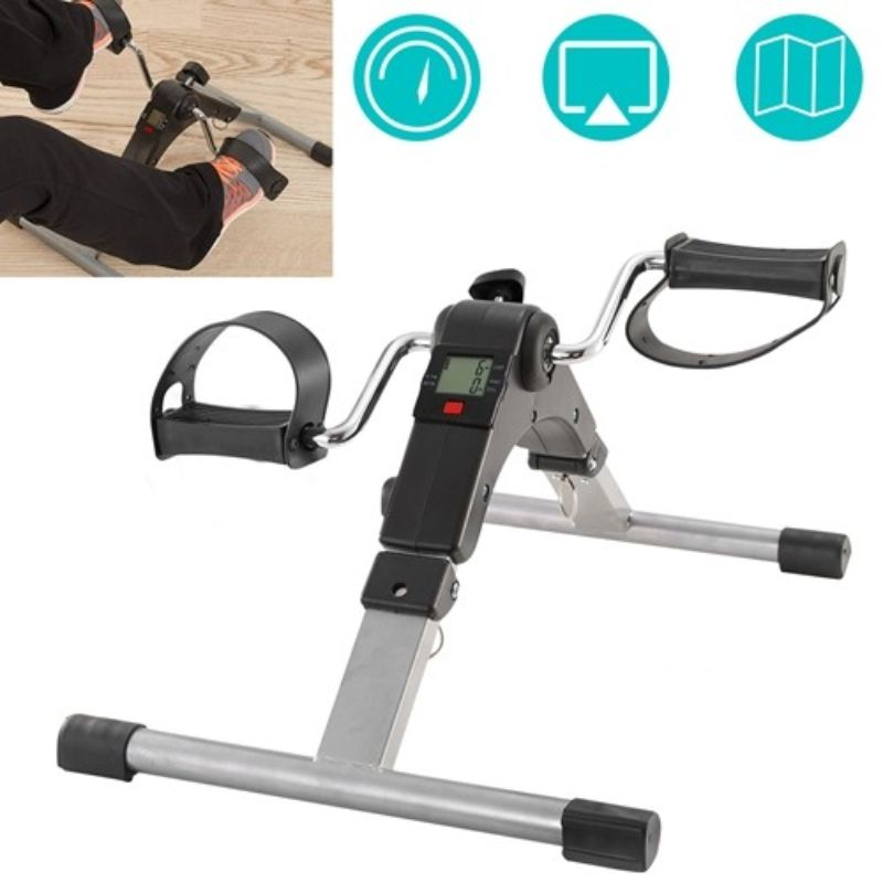 Foldable Exercise Bike with Mini Pedals and LCD Display
