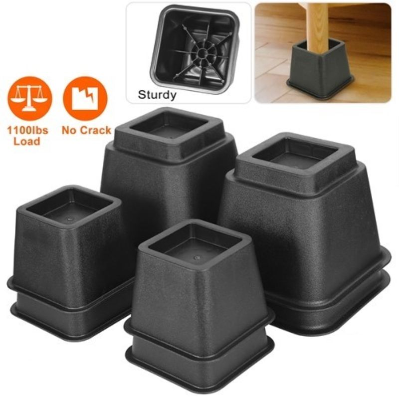 Adjustable Furniture Risers, 500kg or 1100lbs Capacity Bed Lifters - 8 Pack
