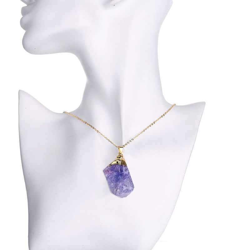 Amethyst Lab Created Gemstone Necklace in 18K Gold Filled-Daily Steals