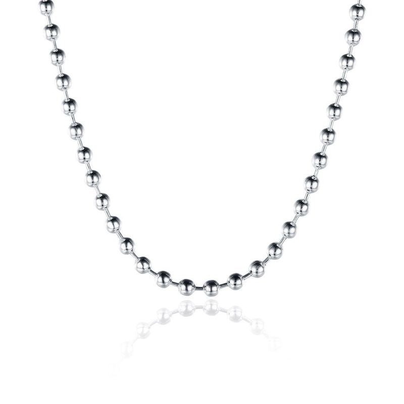 "3mm Bead Chain Necklace in 18K White Gold Filled-18""-Daily Steals"
