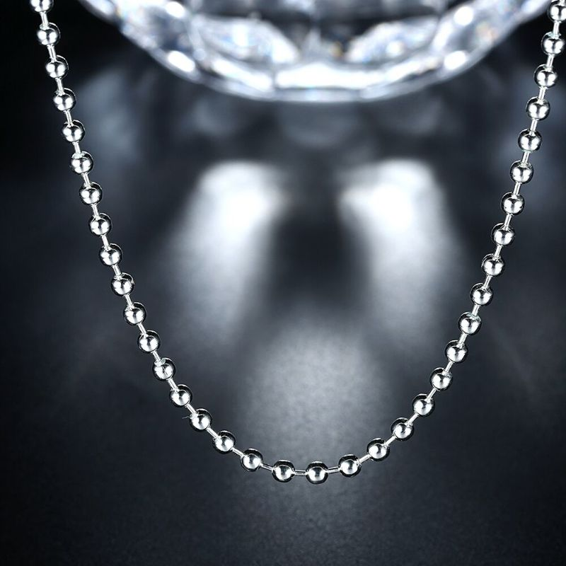 3mm Bead Chain Necklace in 18K White Gold Filled-Daily Steals