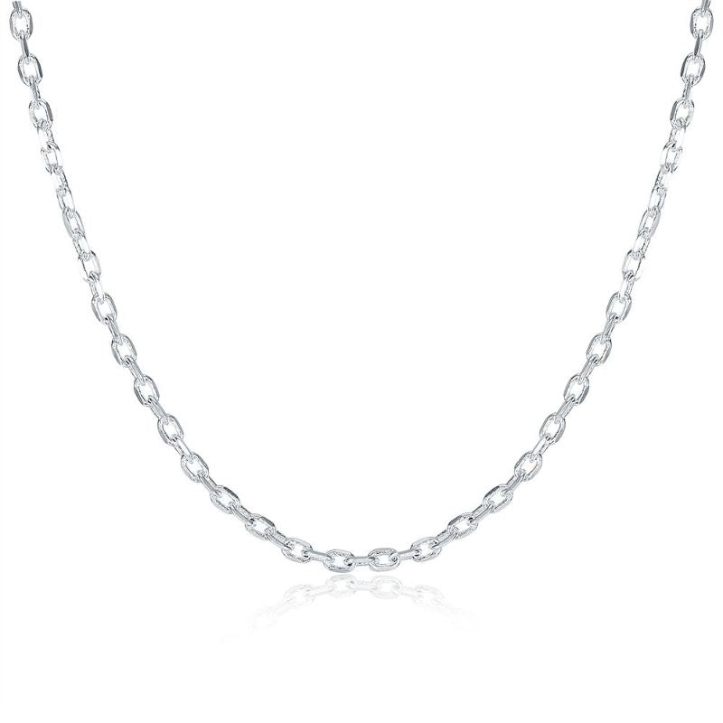 "2mm Cable Chain Necklace in 18K White Gold Filled-16""-Daily Steals"