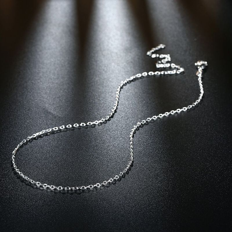 2mm Cable Chain Necklace in 18K White Gold Filled-Daily Steals