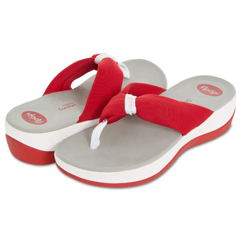Floopi Womens Summer Extreme Comfort Thong Flip Flop Sport Sandals-Red-10-Daily Steals