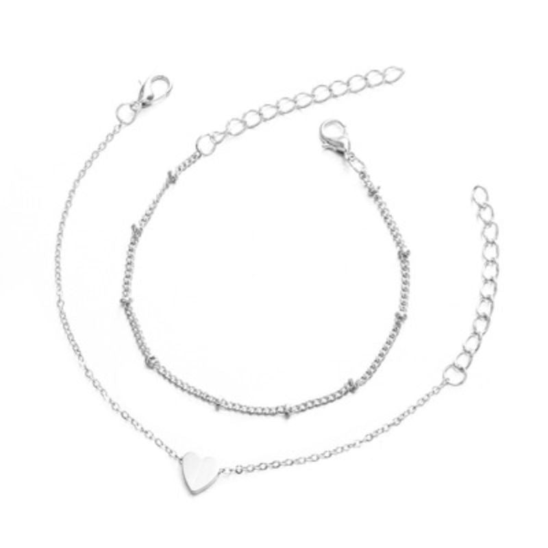 Simple Chic Heart Silver Tone Charm Bracelet Set - 2 Pieces-Daily Steals