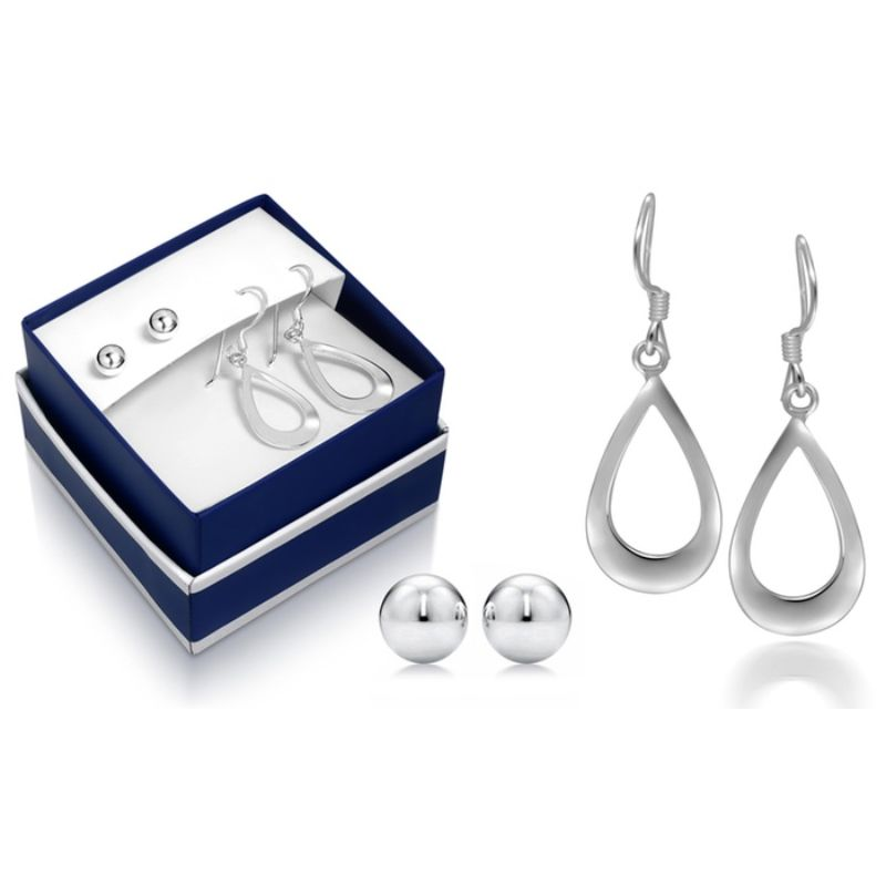 Sterling Silver Hanging Earrings and Ball Stud Earring Set-Daily Steals