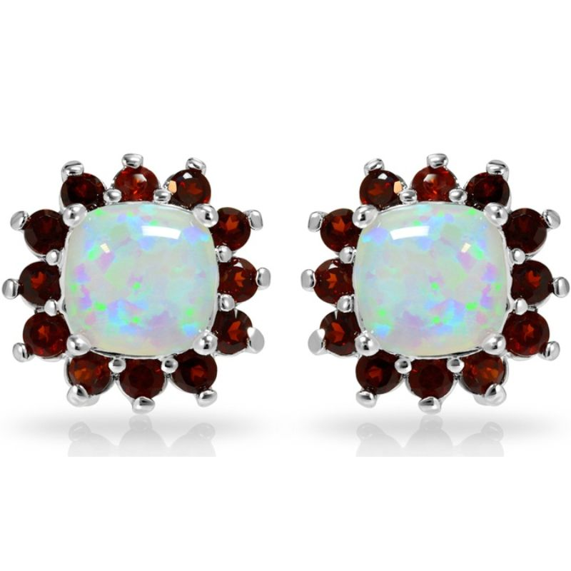 Opal With Created Garnet Gemstone Halo Stud Earrings-Daily Steals