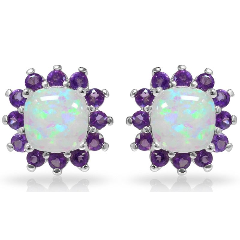 Opal With Created Amethyst Gemstone Halo Stud Earrings-Daily Steals