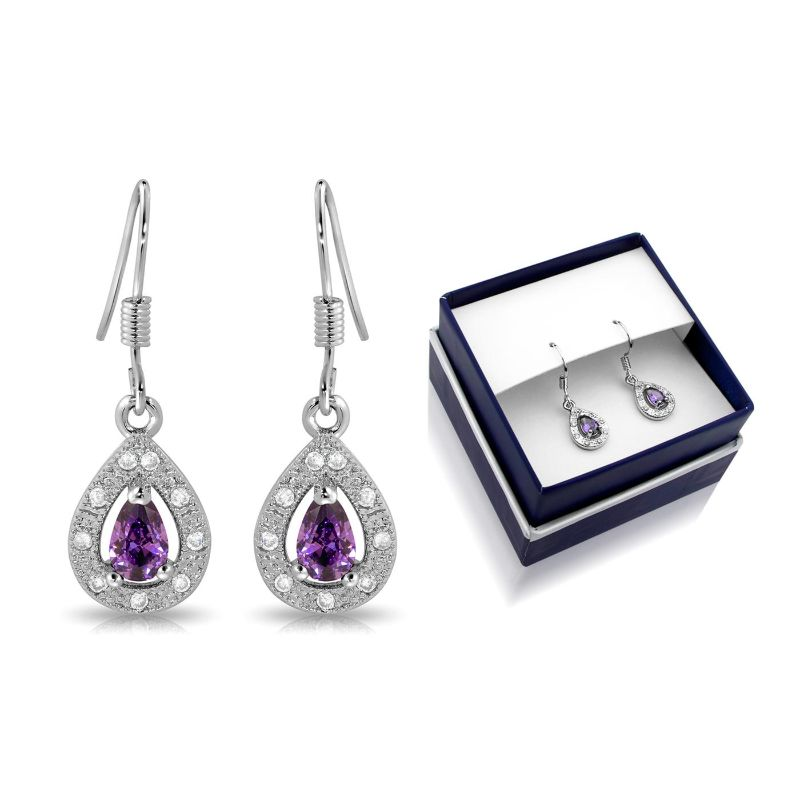 Created Amethyst Pear Shape Hanging Earrings-Daily Steals