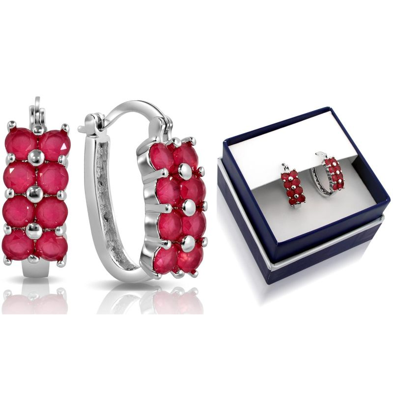 Created Ruby Hanging Hoop Earrings-Daily Steals