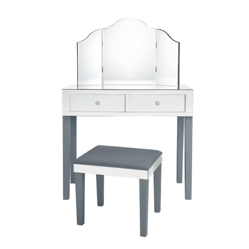 Milano Modern Contemporary 3-Piece Vanity Set with Trifold Mirror-Grey-Daily Steals