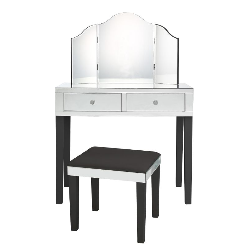 Milano Modern Contemporary 3-Piece Vanity Set with Trifold Mirror-Black-Daily Steals